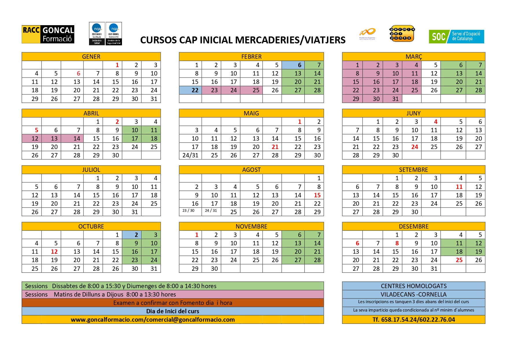 Calendario de cursos de certificado de aptitud profesional