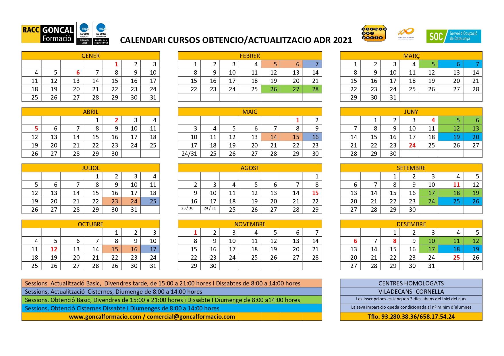 ADR calendari 2021 maig